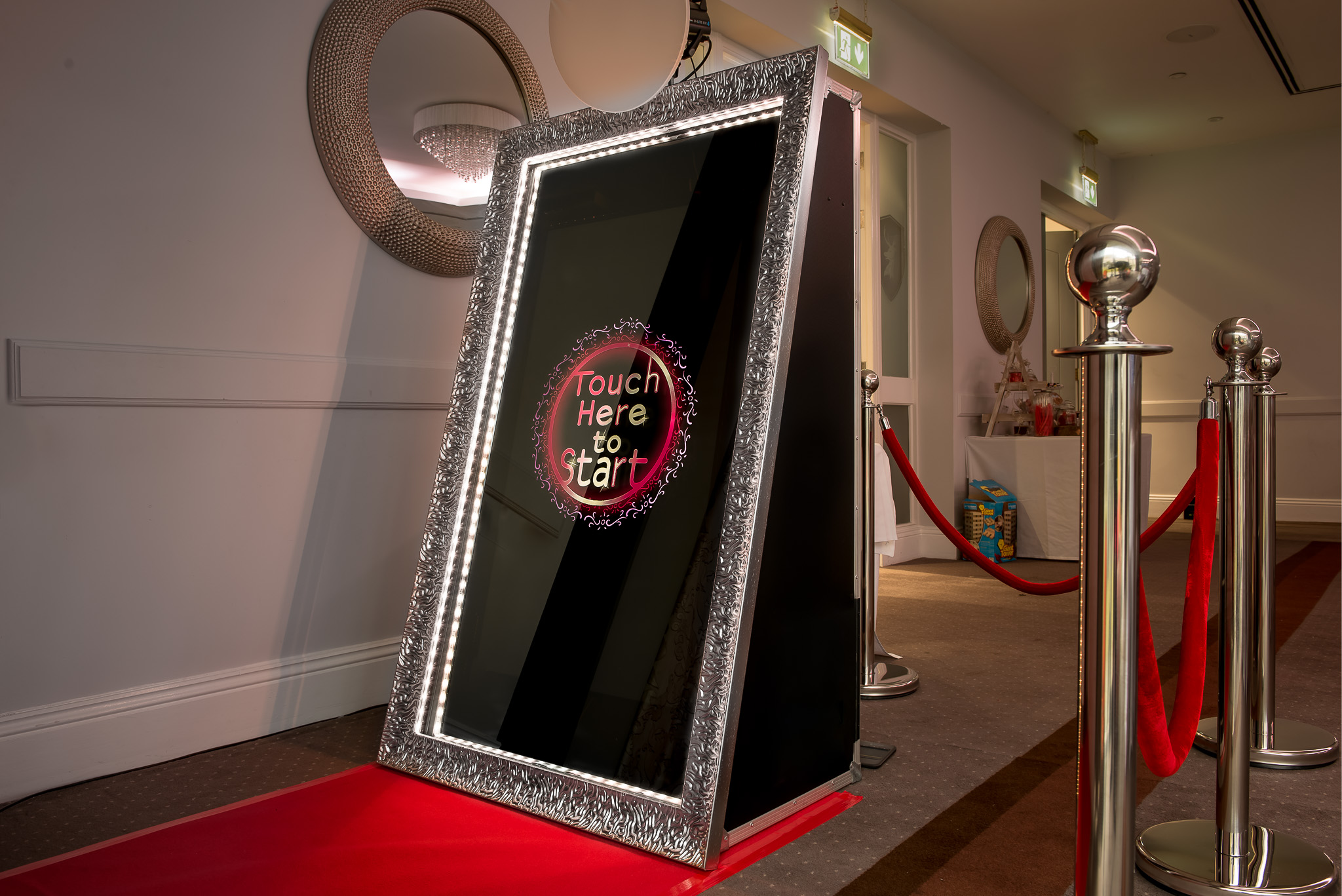 Here is a picture of our Mojo Photo Mirror. Put some Mojo into your wedding and book the Photo Mirror Package Here it's setup up for a wedding at Hensol Castle in Cardiff. South Wales